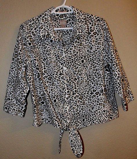 76d936b9f6d991 CHICOS 2 Wrinkle Resist Leopard Print Shirt Tie Front Elastic Back  CHICOS   ButtonDownShirt  Casual