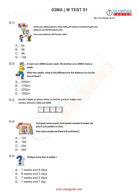 Download These Printable Grade 3 Mathematics Worksheets Or Take