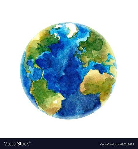 Watercolor earth planet Royalty Free Vector Image