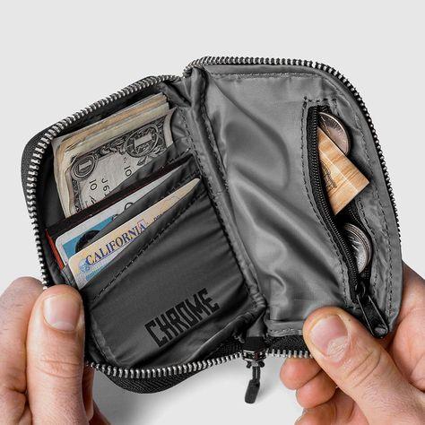 Streamlined full zip wallet Around-the-horn zipper Zippered stash pocket Three card compartments Nylon / Tarpaulin liner