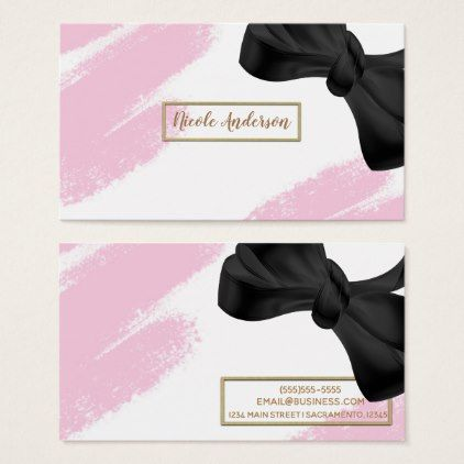 Pink White Gold Modern Minimal Pink Brush Bow Business Card Zazzle Com Pink Brushes Business Cards Beauty Makeup Artist Gifts