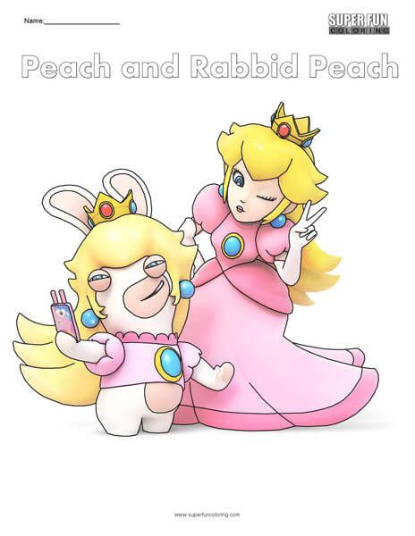 Peach And Peach Rabbid Nintendo Coloring Cool Coloring Pages Nintendo Color
