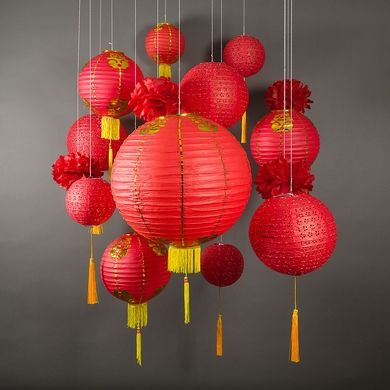 13 Pc Chinese New Year Hanging Decoration Paper Lantern Combo Set