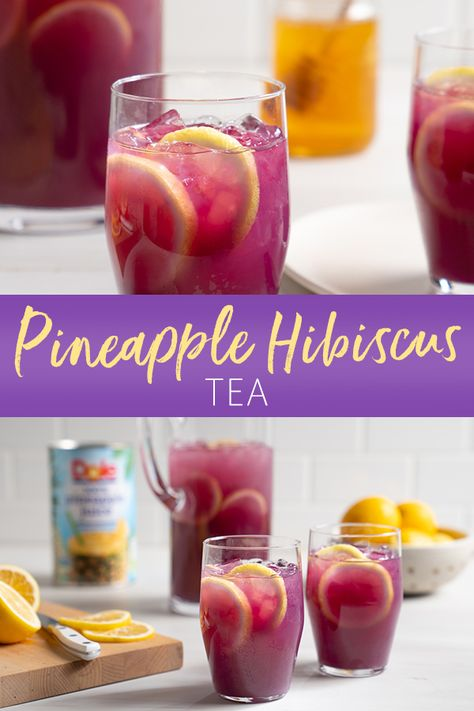 Pineapple Hibiscus Tea - Recipes Feel summery with each taste of our Pineapple Hibiscus Tea. With one-step directions, this party-friendly drink brings together Dole Pineapple Juice, lemon, hibiscus tea, and honey for a sweet yet tart flavor. Smoothies, Smoothie Drinks, Smoothie Recipes, Hugo Cocktail, Cocktail Drinks, Ice Tea Drinks, Iced Tea Cocktails, Kombucha, Refreshing Drinks