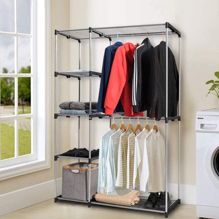 Buy Deluxe Double Rod Closet Wardrobe Metal Free Standing Sturdy Garment Rack Clothes Storage Organizer Clothes Storage Organizer Portable Closet Garment Racks
