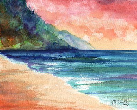 Ke'e Beach Original Watercolor Painting from Kauai Hawaii sunset colorful seascape