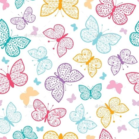 Floral butterflies vector seamless pattern background with hand drawn elements