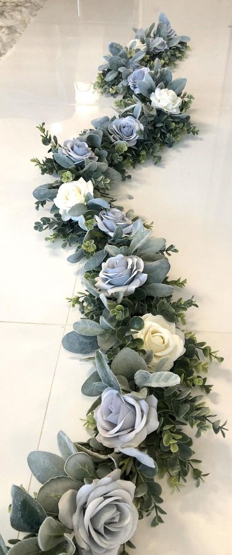 Steel Blue Weddings, Baby Blue Weddings, Blue White Weddings, Dusty Rose Wedding, Blue Wedding Flowers, White Roses Wedding, Blue Wedding Colors, Blue And White Wedding Themes, Baby Blue Wedding Theme