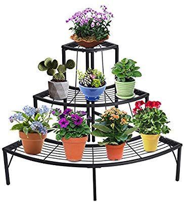 Amazon Com Doeworks 3 Tier Plant Stand Flower Pot Rack Quarter Round Plant Cor Decoracao De Ferro Mobiliario Com Paletes De Madeira Decoracao Sala De Jantar