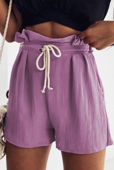 Purple Frilled Drawstring Waist High Rise Shorts - (US 4-6)S / Purple