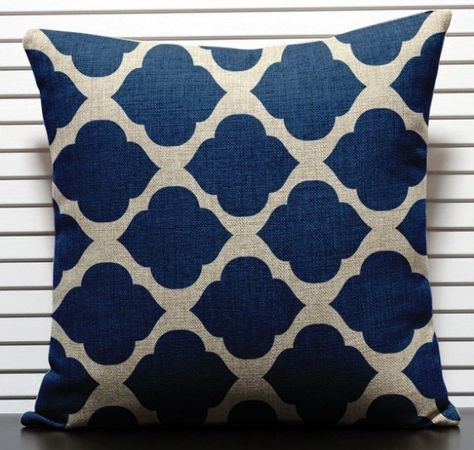 Sale Moroccan Trellis cushion cover navy by KittyandPearl on Etsy £17.71 $30.00