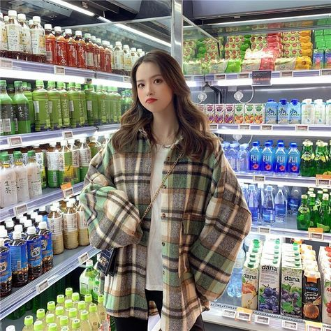 KOREAN CASUAL PLAID OVERSIZE SHIRT - One Size / Green
