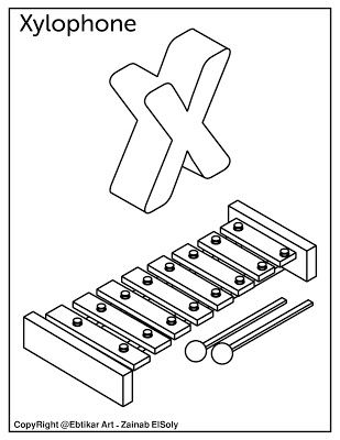 X For Xylophone Alphabet Coloring Pages Preschool Coloring Pages Abc Coloring Pages