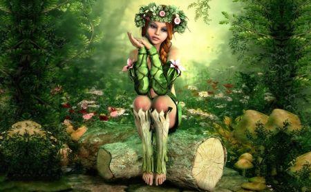 Fairy Shower Curtain Elf Girl with Wreath Tree Print for Bathroom