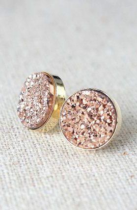 Gold Earrings / Bridesmaids Earrings / Druzy Stud