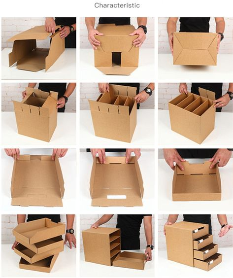Desktop Multi layer Drawer Storage Box Creative Multifunctional Kraft Paper DIY File Sundry Document Cosmetic Jewelry Organizer-in Storage Drawers from Home & Garden on AliExpress - Day Diy Cardboard Furniture, Cardboard Box Crafts, Diy Crafts Hacks, Diy Home Crafts, Diy Jewelry Organizer Box, Diy Paper, Kraft Paper, Diy Karton, Cardboard Organizer
