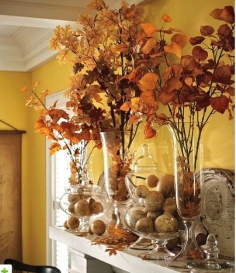 39 Amazing Fall Mantel Décor Ideas : Fall Mantel Décor With Brown Wall Stone Fireplace Pumpkin Fall Flower Ornament
