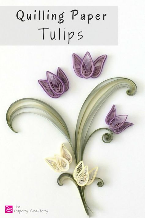 Quilling Paper Tulips ~ The perfect spring craft for quilling beginners! Neli Quilling, Quilling Images, Quilled Roses, Paper Quilling Cards, Paper Quilling Flowers, Paper Quilling Tutorial, Origami And Quilling, Quilled Paper Art, Paper Quilling Designs