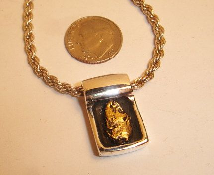 California Gold Nugget Pendant in Sterling by TheEnergyGarden