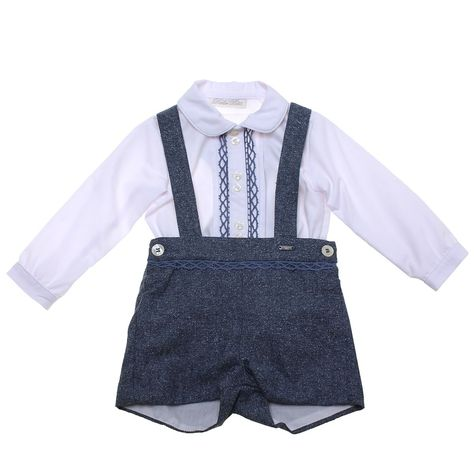 3452d0d43 Classic Dolce Petit baby boys long sleeved white shirt with blue shorts  outfit. Shirt and shorts both have blue frills. The shirt is buttoned in  the front ...
