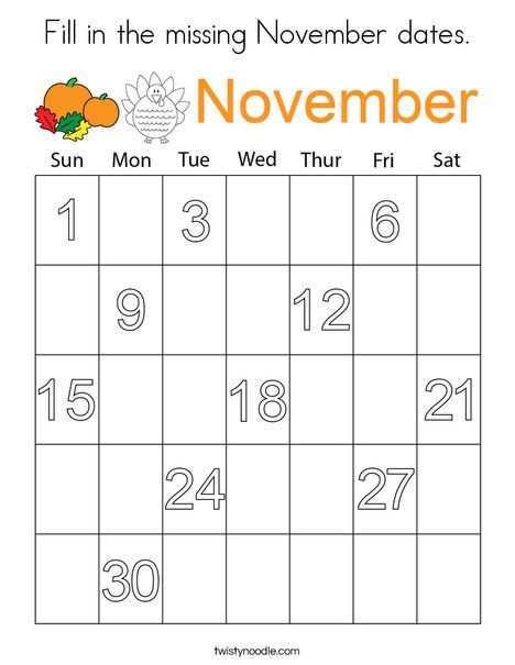 Fill In The Missing November Dates Coloring Page Twisty Noodle Kids Calendar Numbers For Kids Fall Preschool Activities