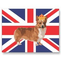 The Queen's Corgi with Crown and Union Jack Post Card