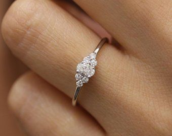 Simple Engagement Ring Etsy Simple Engagement Rings 14k Gold