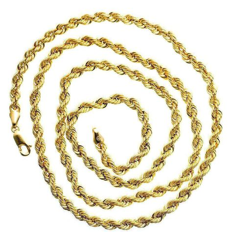 10k Yellow Solid Gold Rope Chain Necklace 4mm Wide Real Gold Chain Rope Chain Gold Necklace 10k 4mm W Gold Chains For Men Chains For Men Mens Chain Necklace