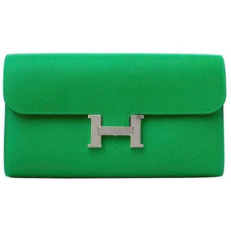 5a0aa5a2d7 Preowned Brand New Hermes Constance Long Wallet Epsom Bamboo Phw ($7,742) ❤  liked on Polyvore featuring bags, wallets, wallet, green, long wallet, ...