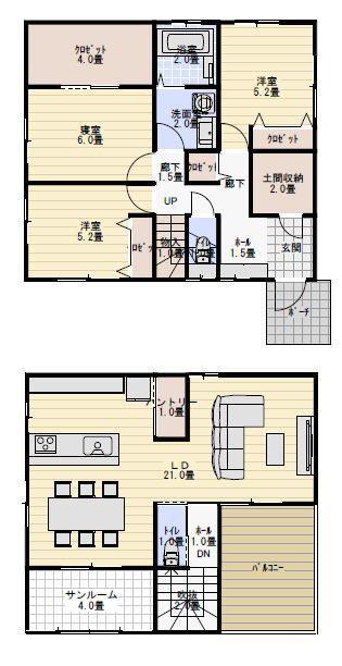 サンルーム物干し室のある家の間取り 間取り 2階リビング 間取り
