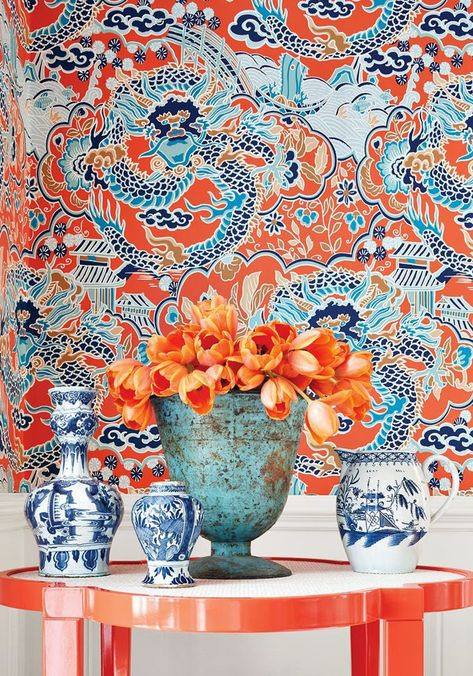 How pretty is this? blues and corals are perfect together. Thibaut paper, oomph Greenwich table. More