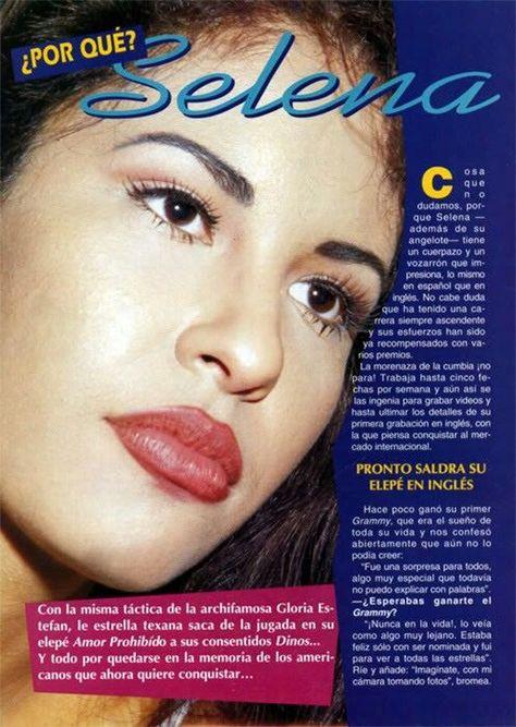 Selena Quintanilla Perez on a page of a magazine