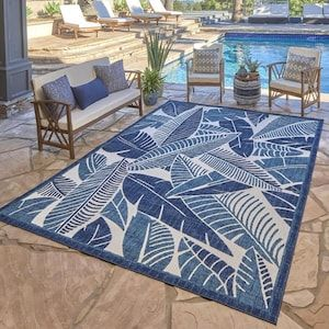 G A Gertmenian Sons Elements 5 X 7 Ivory Indoor Outdoor Floral Botanical Area Rug Lowes Com Blue Outdoor Furniture Tropical Outdoor Rugs Modern Outdoor Patio