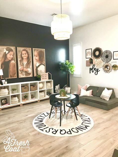 Seeing Stripes: Teen Boy Room Makeover — A Fresh Coat Loft Playroom, Modern Playroom, Toddler Playroom, Playroom Design, Playroom Decor, Playroom Ideas, Playroom Table, Little Girls Playroom, Family Room Playroom