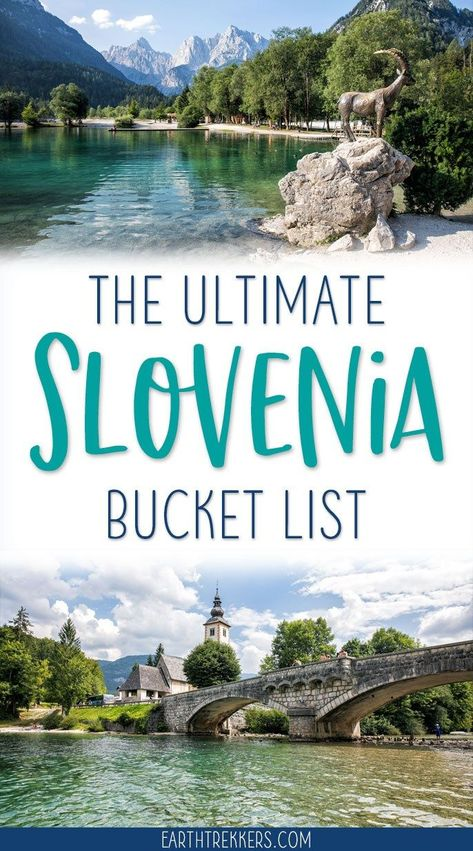 Here are 20 epic things to add to your Slovenia bucket list. Visit Ljubljana, Piran, and Maribor. Hike in Triglav National Park. Swim or paddle board in Lake Bohinj and Lake Bled. Go on scenic drives on the highest roads in Slovenia. Explore gorges and waterfalls. Slovenia is an outdoor paradise...get the full list in this article. #slovenia #lakebled #ljubljana #bucketlist #travelgoals #adventuretravel