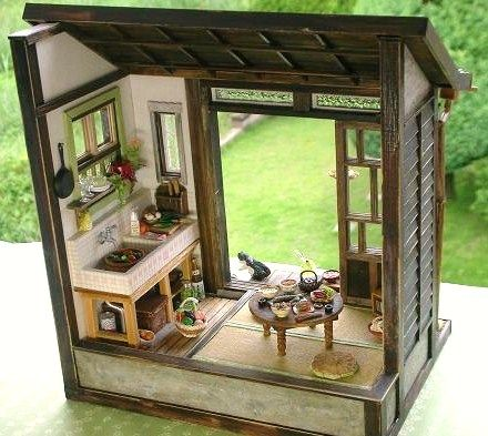 Retro 1//6 Dollhouse Miniature Furniture Wooden Chinese Buddha Cabinet Model