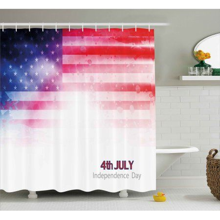 4th Of July Decor Shower Curtain American Flag Background With Stars And Stripes Famous Country Us Desig Country Bathroom Bathroom Sets Printed Shower Curtain 4th of july bathroom decor