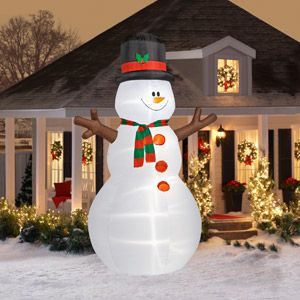 12' Tall Airblown Christmas Snowman Inflatable