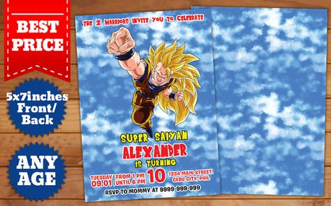 This Instant Downloadable Is For A Photoshop Psd Birthday Dragon Ball Z Invitations