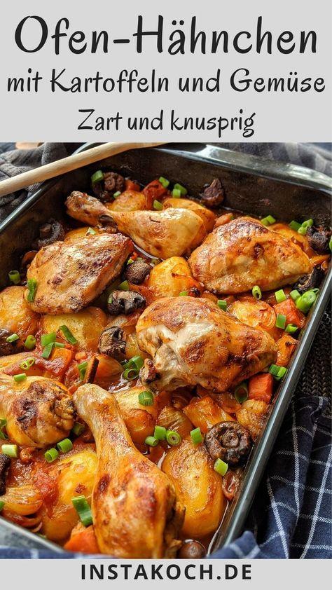 Ofen-Hähnchen mit Kartoffeln und Gemüse in Tomatensoße - Klick dich zum leckeren Rezept