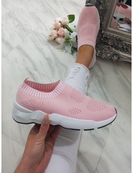 Paris Pink Mesh Sock Trainers | Mesh