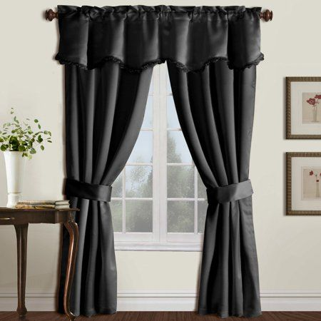 Burlington 52 Inch X 63 Inch Window Curtain Five Piece Curtain And Valance Set Taupe Gray Curtains Window