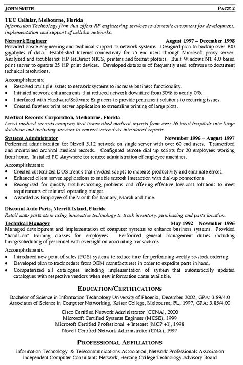 Free Sample Resume For Software Engineer -    wwwresumecareer - sample resume for network administrator