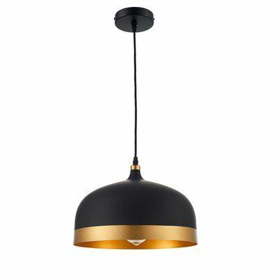 Wrought Studio Muhja 1 Light Single Dome Pendant Finish Black