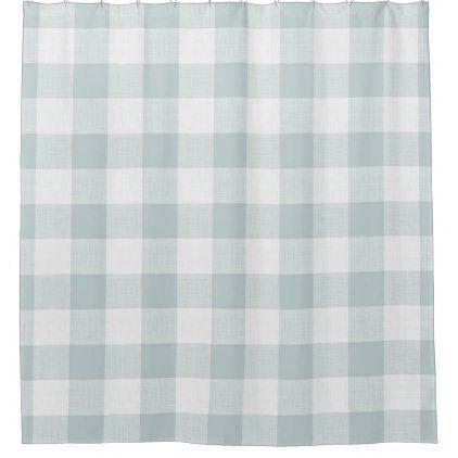 Blue Buffalo Check Farmhouse Bath Decor Shower Curtain Zazzle