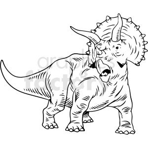 Black And White Triceratops Dinosaur Vector Illustration Vector Illustration Disney Fan Art Illustration