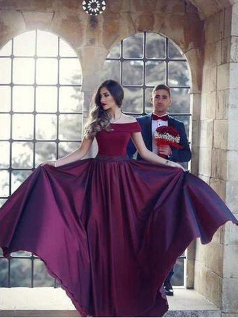 ddda937710 2018 Long Burgundy Prom Dress A-line Simple Modest African Cheap ...
