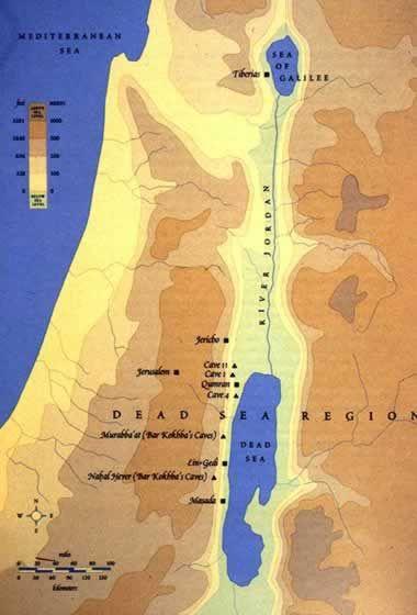 Mapa De Qumran A Orillas Del Mar Muerto Te Para Tres Mapas