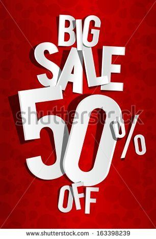 Creative Big Sale On Red Background Vector Illustration - 163398239 : Shutterstock