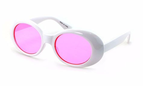 27204be17d White Bold Retro Oval Mod Thick Frame Sunglasses Clout Goggles Round Lens  Pink